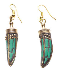 Magnificent Green & Sublime Gold Dot Dagger Style Earrings(Ns9)