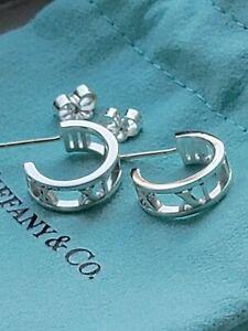 """Tiffany & Co. Atlas Sterling Silver Mini Hoop Earrings """"New"""""""