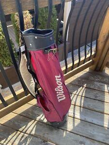 Wilson Maroon Lightweight Golf Bag. No Stand. No Handle. 6 Dividers. 2 Pockets