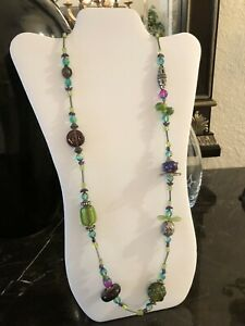 Treska Multi Color Glass Beaded and Mixed Materials Necklace - FABULOUS!