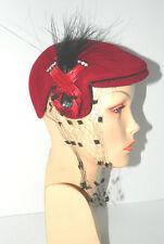 Vtg Profile Cap Hat Red Velour Beret Feather Quills Horse Hair Rhinestones+Veil
