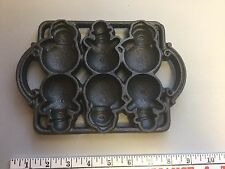 "Vintage Cast Iron Snowman Cookie Muffin Mold Pan NEVER USED! 8-1/2"" x 6"" MOLD"