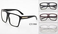 Large Oversized Vintage Glasses Clear Lens Thin Frame Nerd Glasses Retro BLACK