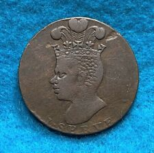 1788, Barbados Penny, image of slave and pineapple, great type nice & original