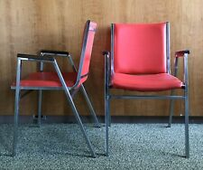 Vtg Mcm Chrome Steel Chair Red Vinyl Leather Wood Arm Accent Office Stacking