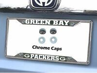 New NFL Green Bay Packers Chrome Metal License Plate Frame & Chrome Screw Caps