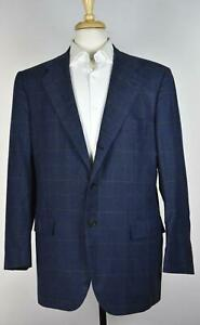 Kiton Men's Navy Windowpane 100% Cashmere Sport Coat Blazer Jacket 44 US