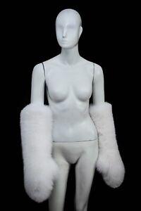 Genuine Snow White Acrtic Fox Fur Handmade Trending Massive Elbow Mittens Gloves