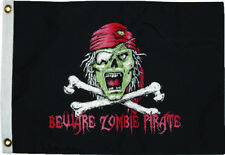 12x18 Beware Zombie Pirate Flag 2-Sided Nylon WaterProof New