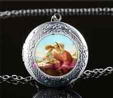 Mary & Jesus Photo Cabochon Glass Tibet Silver Locket Pendant Necklace