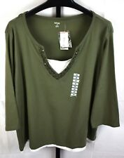 NWT Style and CO Green Beaded Layered Look Top Plus Size 3X