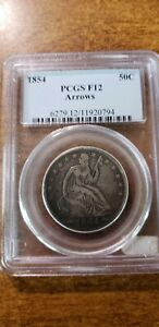 1854 Seated Liberty Half Dollar with arrows.  PCGS graded