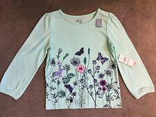 GAP - AQUA T.SHIRT WITH FLORAL & BUTTERFLY DESIGN & 3/4 SLEEVES - AGE 3y - BNWT