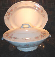 "HOMER LAUGHLIN GEORGIAN 14"" PLATTER VEGETABLE SERVING BOWL W/LID USA EGGSHELL"