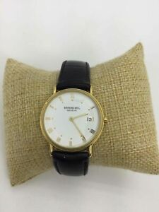 Raymond Weil Gold Plated Leather Band Wrist Watch
