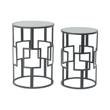 Fiona Black Round Mirrored Side Table Set of 2
