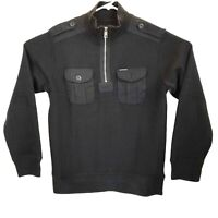 Marc Ecko Mens Med Black Cotton Sweater Cut & Sew Officer 1/4 Zip