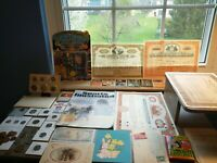 Estate Coin/Antiques lot:silver coins, 1958 sporting news,1910 postcards, stocks
