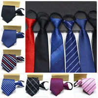 Lazy Men's Zipper Necktie Solid Striped Casual Business Wedding Zip Up Neck Ties