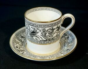 Beautiful Wedgwood Florentine Black Flat Coffee Can And Saucer