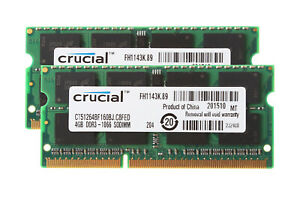 Crucial 8GB 4GB 2RX8 PC3-8500S DDR3 1066Mhz 1.5V Memory RAM Laptop Intel Model $
