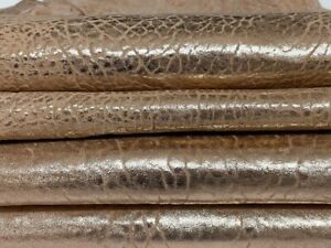 METALLIC ROSE GOLD BUBBLY washed thick Lambskin leather 2 skins 9sqf 1.8mm A7329