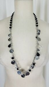 White House Black Market Engraved Flat Disc Faceted Beads BEADED NECKLACE Silver