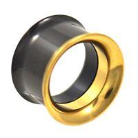 PAIR -  BLACK & GOLD-TONE IP STEEL SCREW-ON EAR TUNNELS PLUGS GAUGES - 3mm-25mm