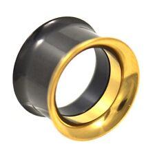 Screw-On Ear Tunnels Plugs Gauges - 3mm-25mm Pair - Black & Gold-Tone Ip Steel
