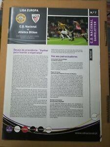 MATCH PROGRAM UEFA EUROPA LEAGUE CD NACIONAL MADEIRA x ATHLETIC CLUB BILBAO