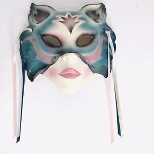 Clay Art Ceramic Face Mask Cat Blue Pink Vintage Handmade USA Jester Clown