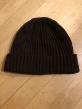Neiman Marcus Loro Thick Heavy Cashmere Cable Knit Hat Cap Beanie Brown