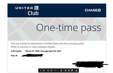 Two (2) UNITED CLUB ONE-TIME PASS - Electronic Delivery (2021 April 03 Exp.)