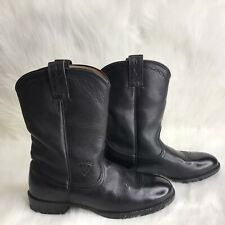 "Ariat Roper Black Leather 10"" Boots Womens 7B 14501 Low Heel Pull On W/out Box"