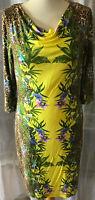 YORN Top Design Kleid Gr 38 Erfrischendes Gelb Dschungel-Look mit Unterkleid