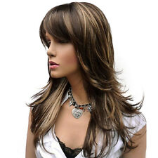 Women's Wig Long Straight Layered Brown with Blonde Highlights Synthetic Full
