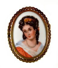 VTG ART DECO LIMOGES FRANCE HAND PAINED PORCELAIN CAMEO FILIGREE BROOCH PIN