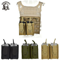 Tactical Double 5.56 .223 Magazine Pouch Open Top Molle pistol Holster Ammo Bag