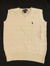 NEW Polo Ralph Lauren Ivory Cotton Boys V Neck Cable Knit Sweater Vest Size 6