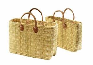 Einkaufstasche aus Seegras sehr stabile Ausführung mit Ledergriff klein
