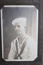 Original WW1 U.S. Navy Sailor's Photograph in Fold Up Cardboard Frame, VG