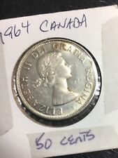 1964 50C Canada 50 Cents .800 Silver 11.6 Grams Circulated FS