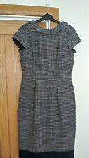 Boden Navy/Cream Textured Knee Length Fully Lined Dress 12R Waist Pleat feature