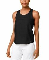 New Calvin Klein Performance Women's Linen Twist-Back Tank Top PF6T3888 Black