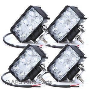 4x 18W 6 LED Work Light Lamp Bar Flood Beam Jeep Tractor Truck Bright 12v 24v CE