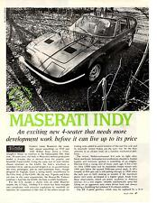 1970 MASERATI INDY  ~  ORIGINAL 4-PAGE ROAD TEST / ARTICLE / AD