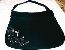 New Disney Tinkerbell Fairy Firefly Limited Edition Black Velvet Handbag Tote