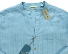 Men's CARIBBEAN Corydals Sea Blue Linen + Open Neck Shirt LT TALL NWT NEW S75