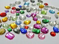 100 Mixed Faceted Beads Acrylic Rhinestones Gems  Flat Back Sew On UK seller #15