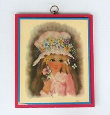 Vintage 1960s 1970 A Gruerio Art Girl Flowers Butterfly 7384 Wooden Plaque Print